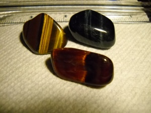 Tiger's Eye Crystals: Gold, Red, Blue.  Copyright G G Collins 2015