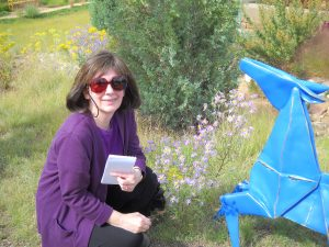 "Me in my ""office, Santa Fe Botanical Garden w/Kevin Box sculpture. Copyright G G Collins"
