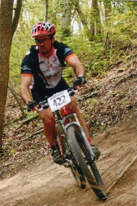 Author, and outdoors-man, Scott Marlowe hitting the trail.