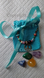 Crocheted Anti-Stress Medicine Bag & Crystals