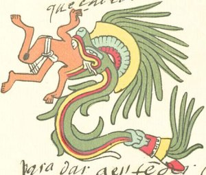 Quetzalcoatl feathered serpent form as depicted in the Codex Telleriano-Remensi. Wikimedia Public Domain